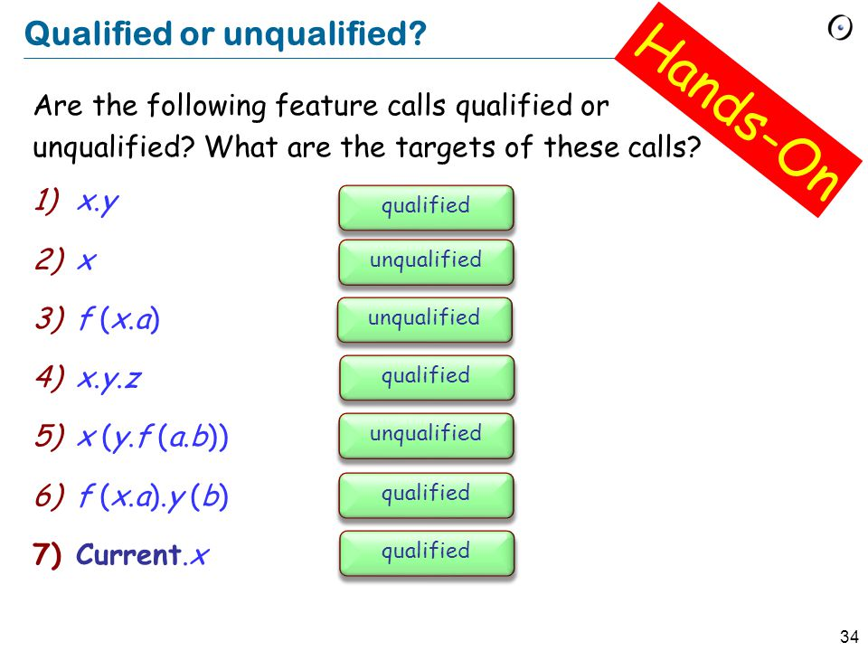 34 Qualified or unqualified. Are the following feature calls qualified or unqualified.