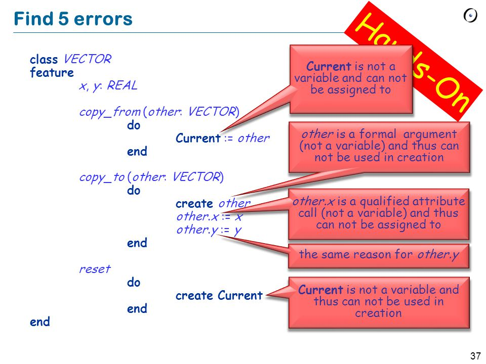 37 Find 5 errors class VECTOR feature x, y: REAL copy_from (other: VECTOR) do Current := other end copy_to (other: VECTOR) do create other other.x := x other.y := y end reset do create Current end Hands-On Current is not a variable and can not be assigned to other is a formal argument (not a variable) and thus can not be used in creation other.x is a qualified attribute call (not a variable) and thus can not be assigned to the same reason for other.y Current is not a variable and thus can not be used in creation