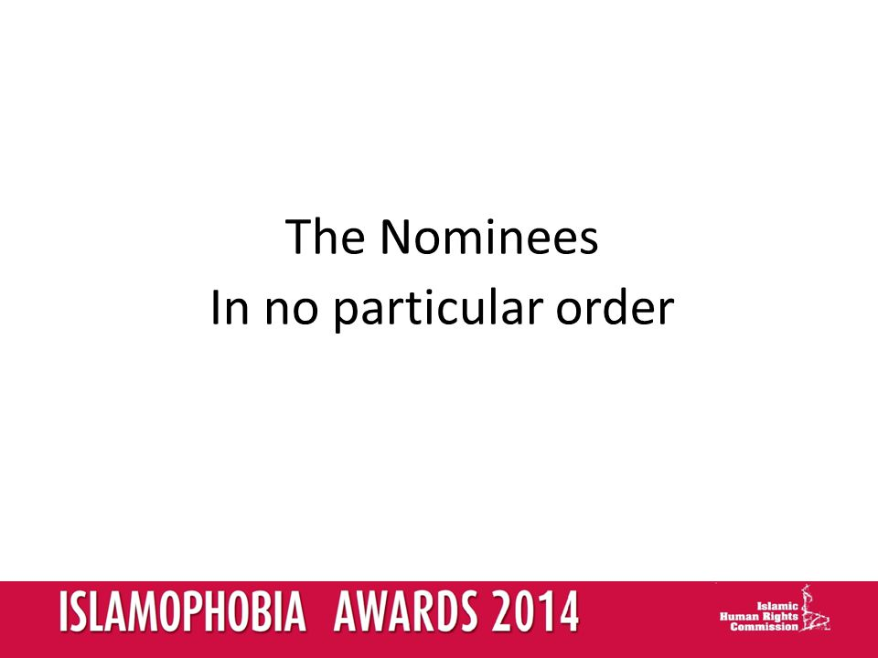 The Nominees In no particular order