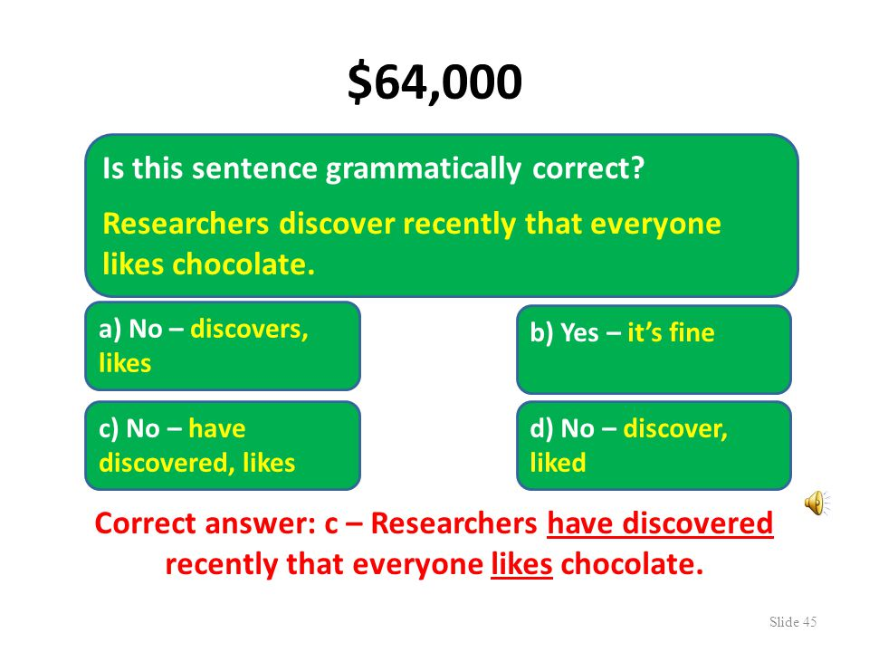 $16,000 Slide 44 Is this sentence correct. The liquid chocolate solidified.