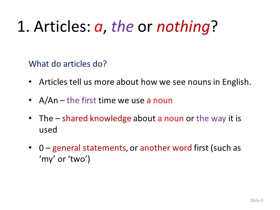 Help! While you watch, pay attention to the articles (a/an/the) in blue Slide 5