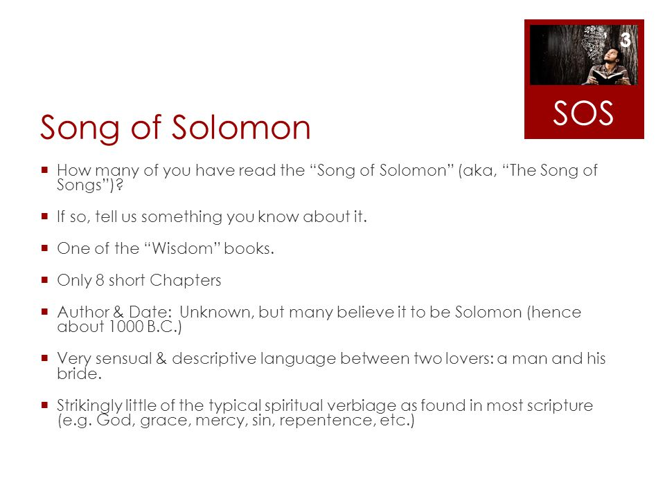 Song of Solomon How many of you have read the Song of Solomon (aka, The Song of Songs)? If so, tell us something you know about it. One of the Wisdom