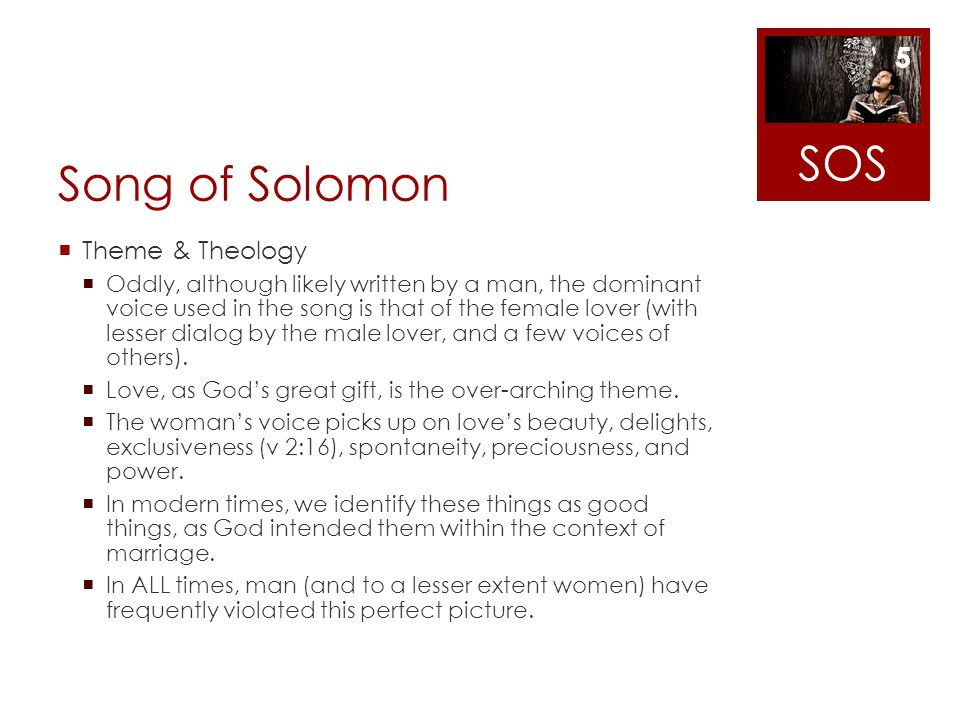 Song of Solomon Theme & Theology Oddly, although likely written by a man, the dominant voice used in the song is that of the female lover (with lesser