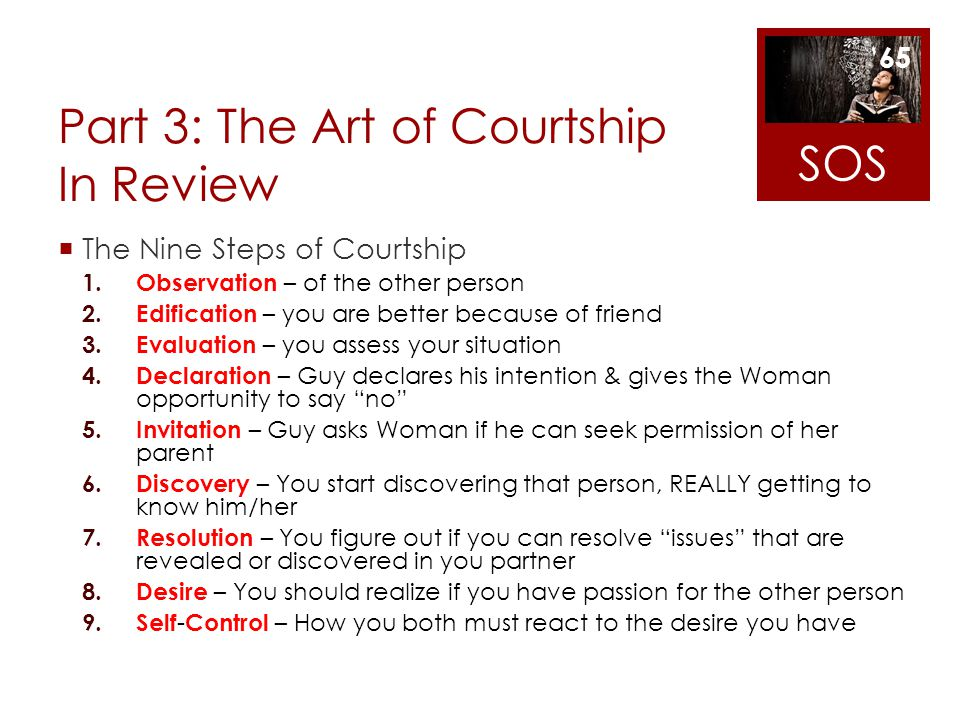 Part 3: The Art of Courtship In Review The Nine Steps of Courtship 1. Observation – of the other person 2. Edification – you are better because of fri