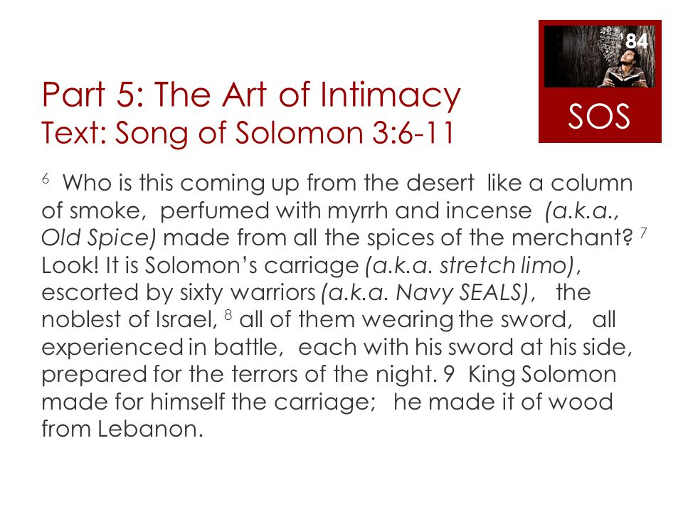 Part 5: The Art of Intimacy Text: Song of Solomon 3:6-11 6 Who is this coming up from the desert like a column of smoke, perfumed with myrrh and incen
