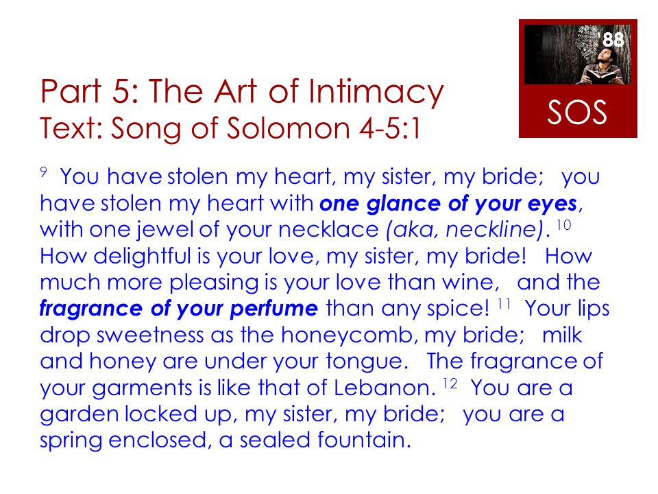Part 5: The Art of Intimacy Text: Song of Solomon 4-5:1 9 You have stolen my heart, my sister, my bride; you have stolen my heart with one glance of y
