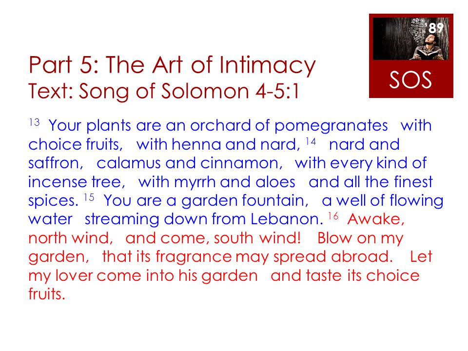 Part 5: The Art of Intimacy Text: Song of Solomon 4-5:1 13 Your plants are an orchard of pomegranates with choice fruits, with henna and nard, 14 nard