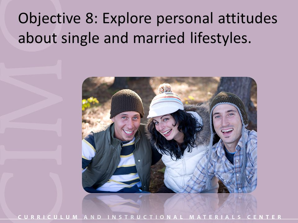 Objective 8: Explore personal attitudes about single and married lifestyles.