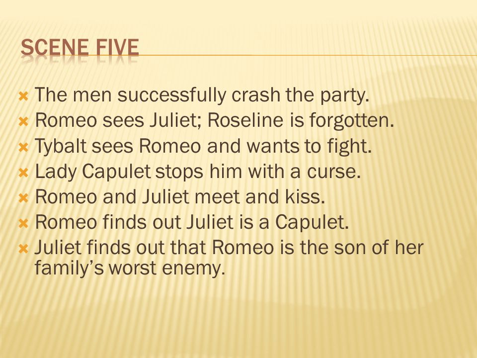 The men successfully crash the party. Romeo sees Juliet; Roseline is forgotten.