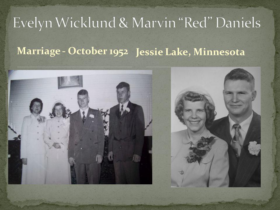 Marriage - October 1952 Jessie Lake, Minnesota