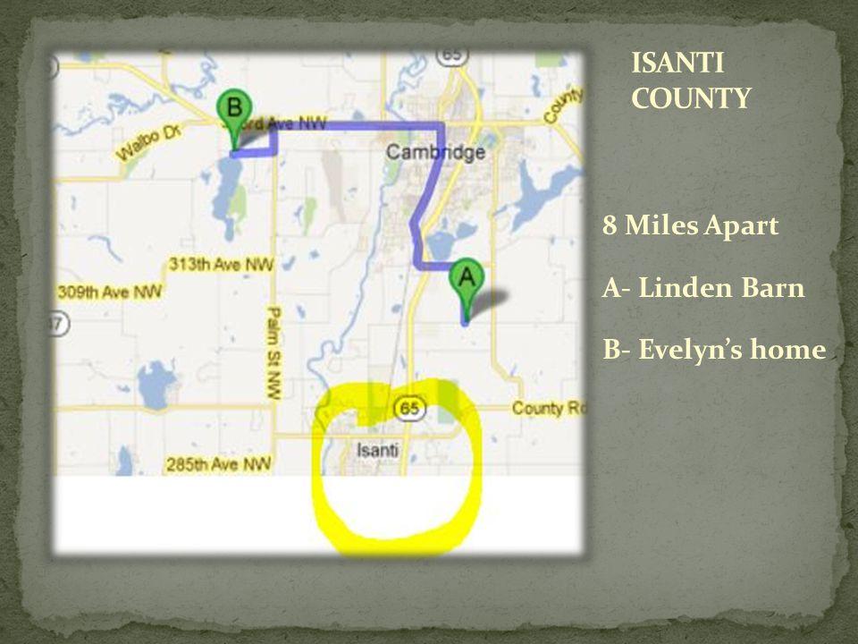 8 Miles Apart A- Linden Barn B- Evelyns home