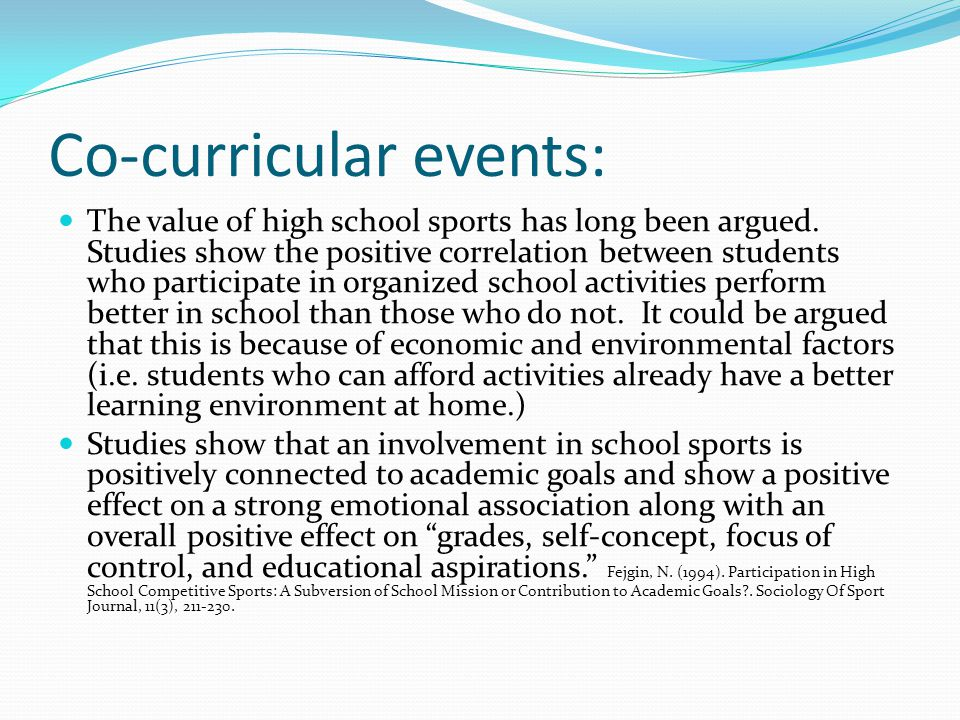 Co-curricular events: The value of high school sports has long been argued.