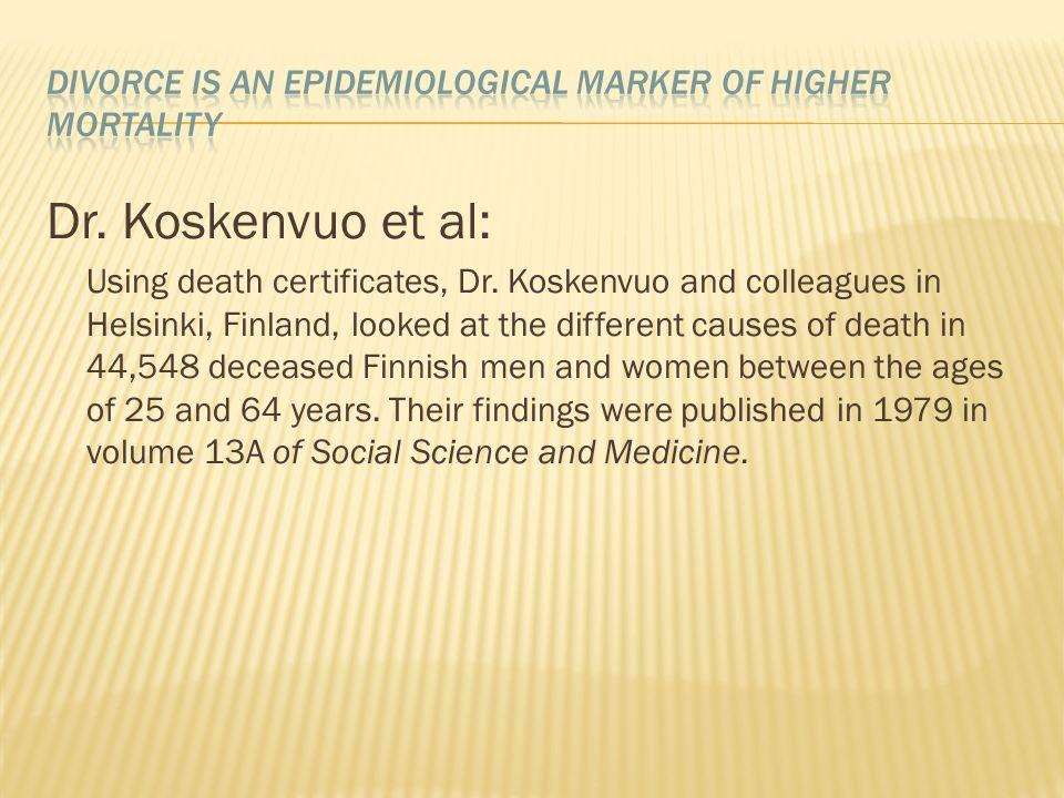 Dr. Koskenvuo et al: Using death certificates, Dr.