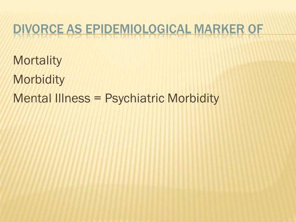 Mortality Morbidity Mental Illness = Psychiatric Morbidity