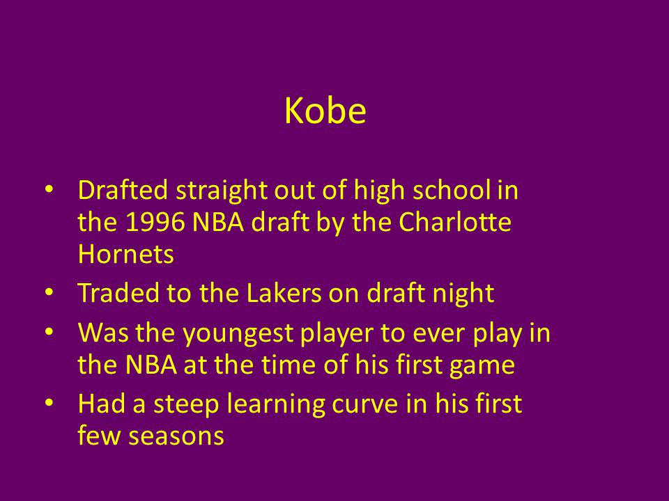 Kobe Drafted straight out of high school in the 1996 NBA draft by the Charlotte Hornets Traded to the Lakers on draft night Was the youngest player to ever play in the NBA at the time of his first game Had a steep learning curve in his first few seasons