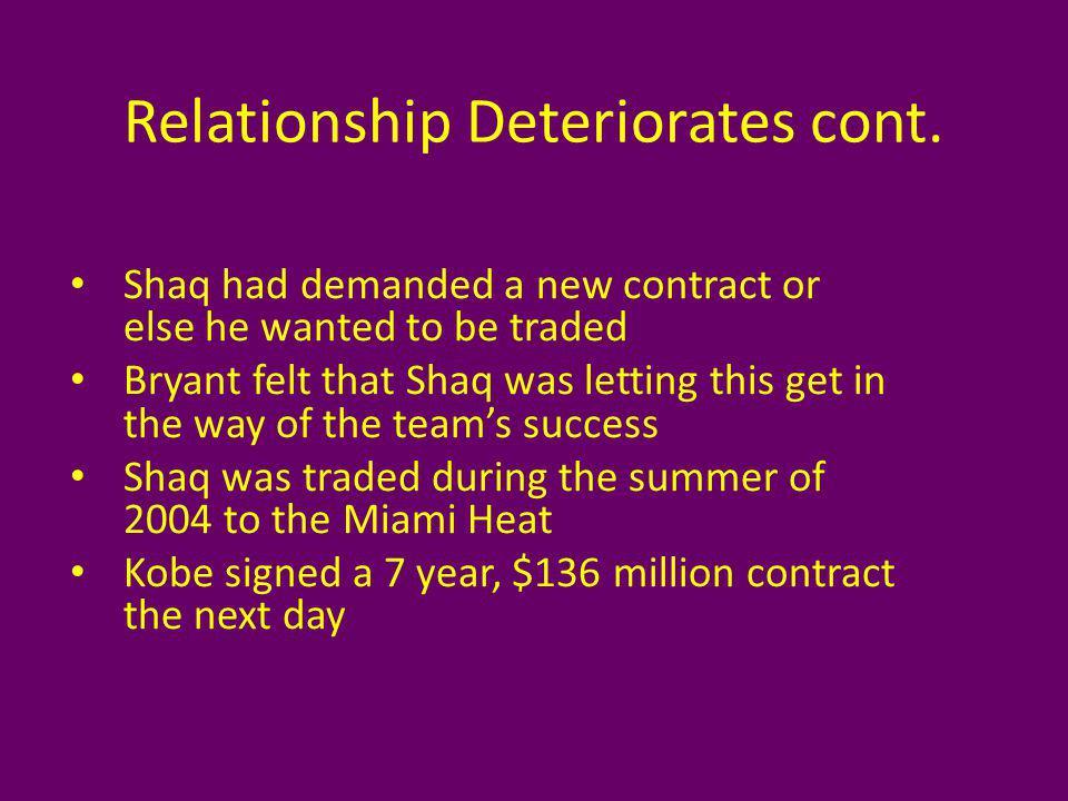 Relationship Deteriorates cont.