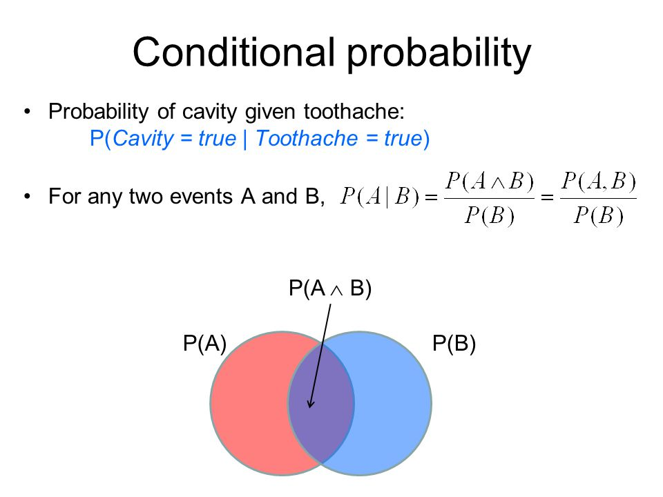 Conditional probability Probability of cavity given toothache: P(Cavity = true | Toothache = true) For any two events A and B, P(A)P(B) P(A B)