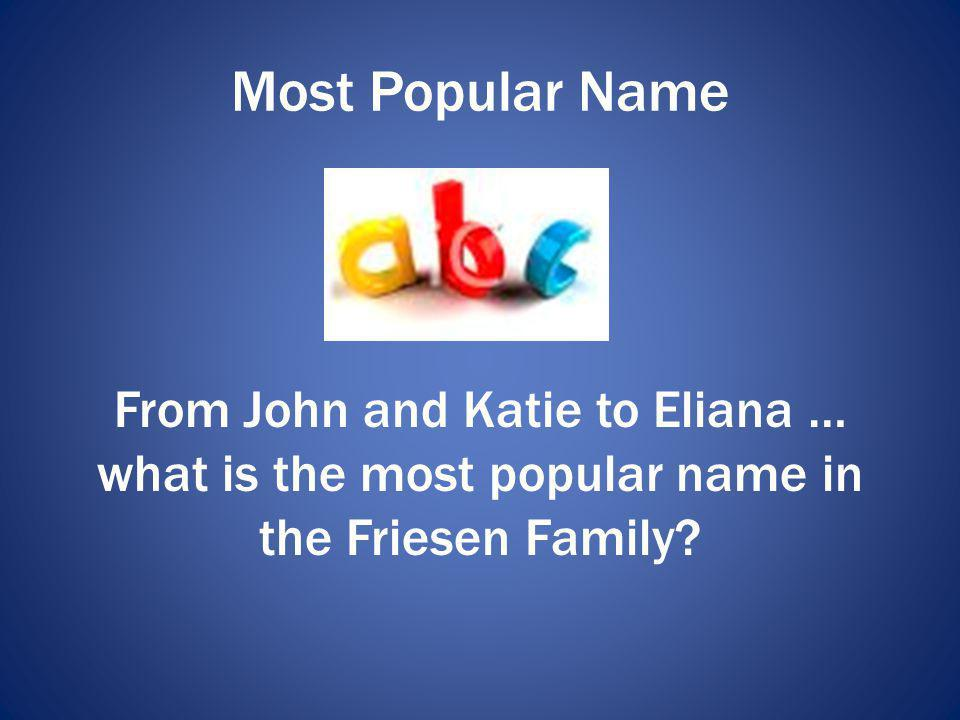 Most Popular Name From John and Katie to Eliana … what is the most popular name in the Friesen Family?