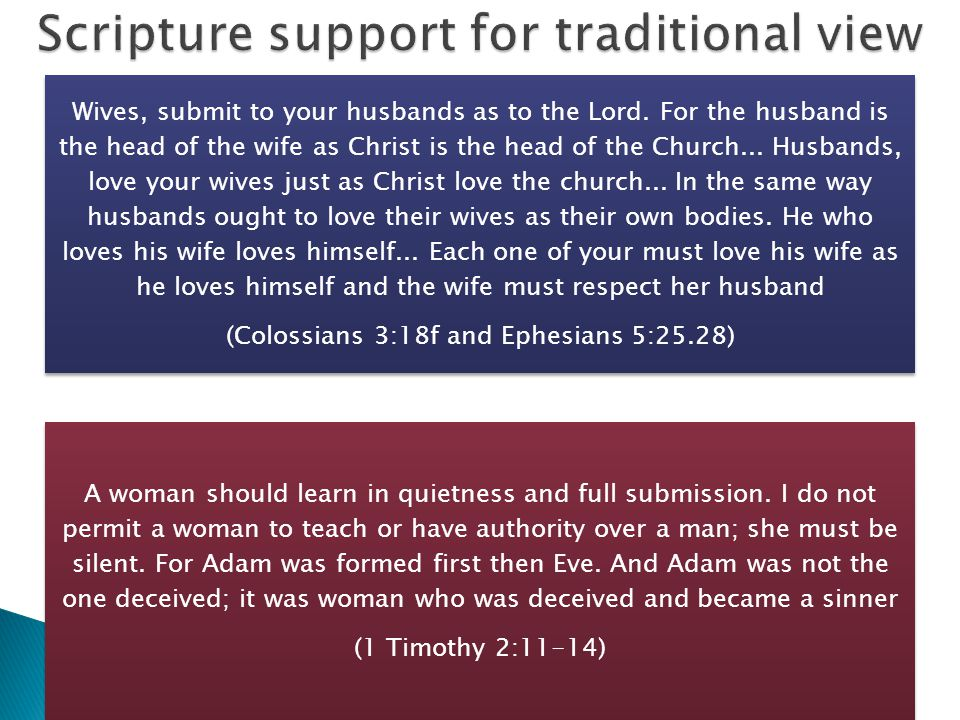 Treated men and women as equals God created man in his image…male and female he created them Preached in the Court of Women in the Jerusalem temple Treated a Samaritan woman as equal Had women followers who stayed with him at the Cross and ministered to him.