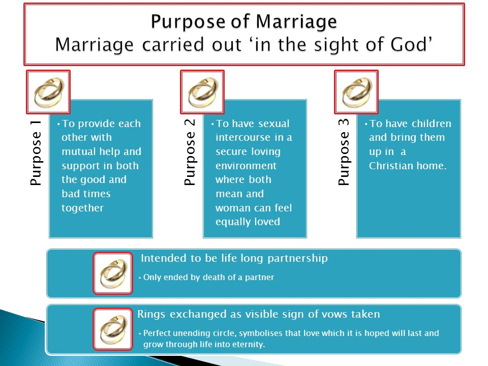 Purpose 1 To provide each other with mutual help and support in both the good and bad times together Purpose 2 To have sexual intercourse in a secure