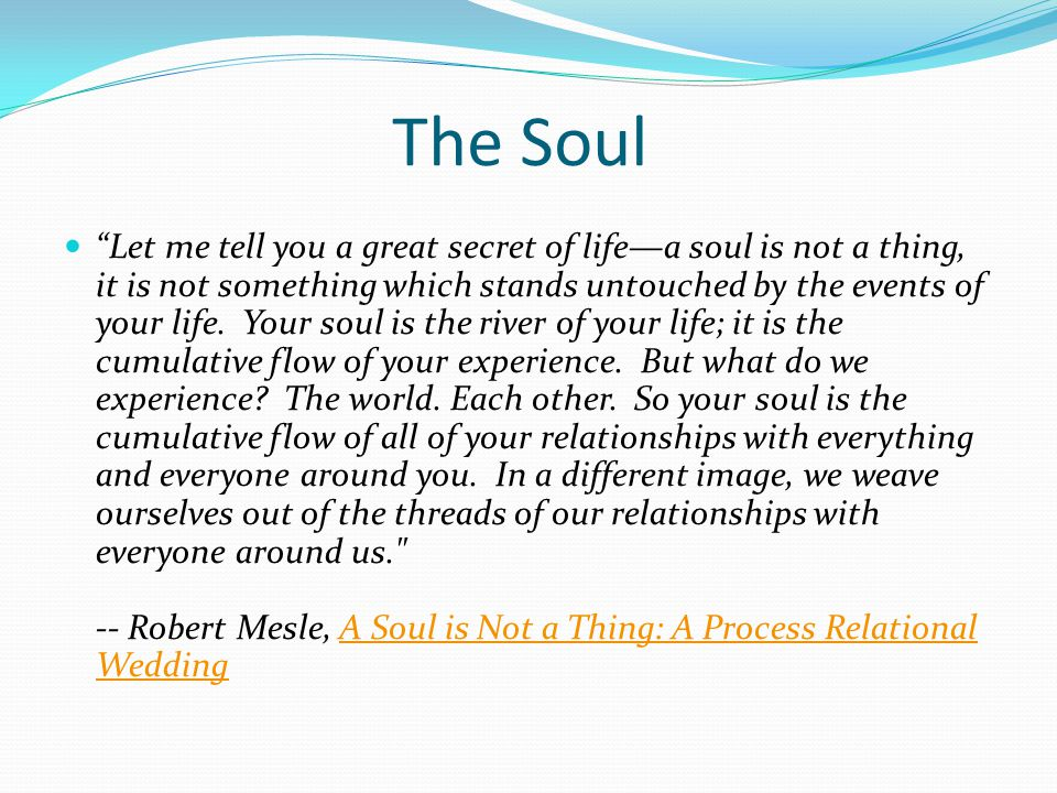 The Soul Let me tell you a great secret of lifea soul is not a thing, it is not something which stands untouched by the events of your life.