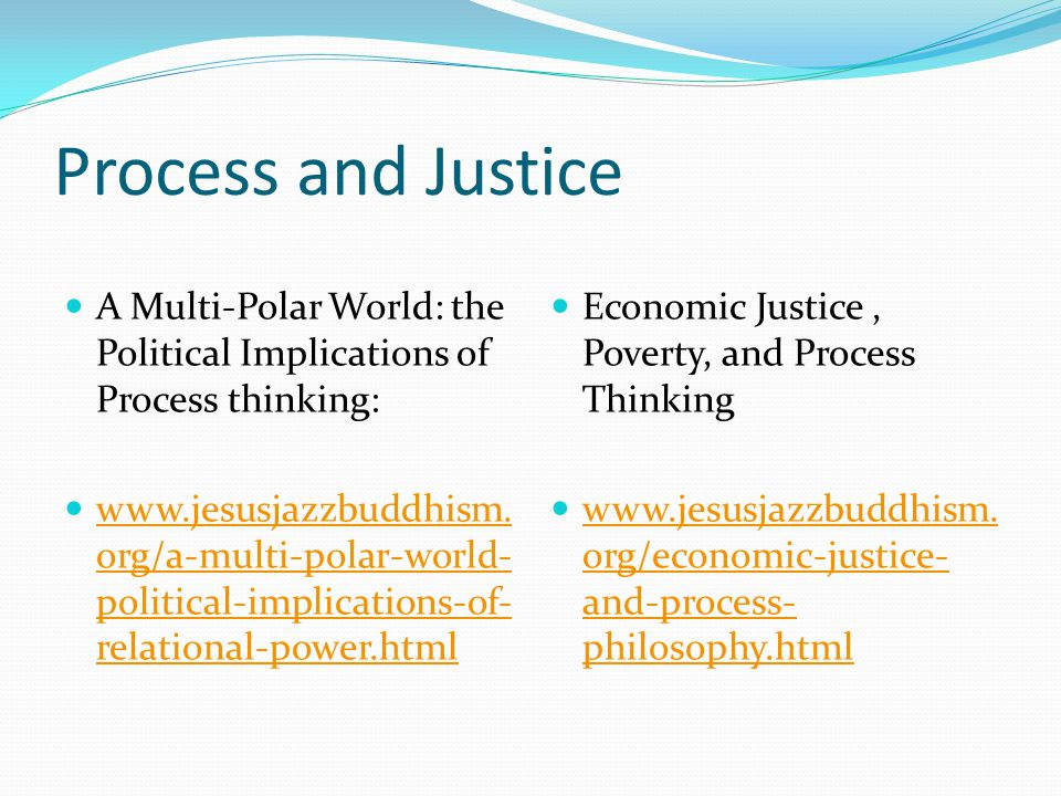 Process and Justice A Multi-Polar World: the Political Implications of Process thinking: www.jesusjazzbuddhism.
