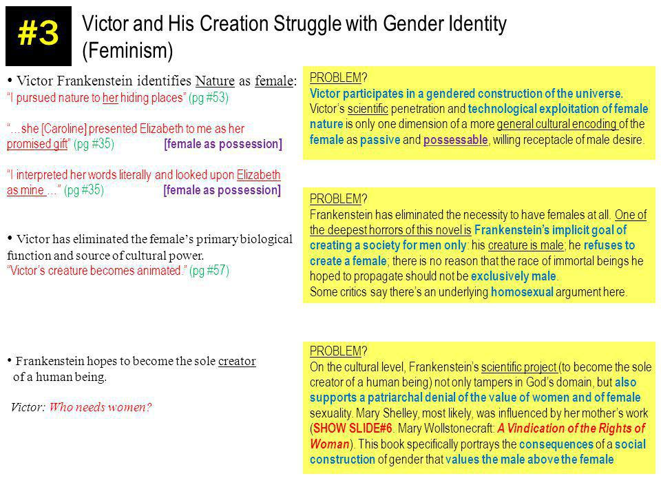 Victor and His Creation Struggle with Gender Identity (Feminism) #3 Victor Frankenstein identifies Nature as female: I pursued nature to her hiding pl