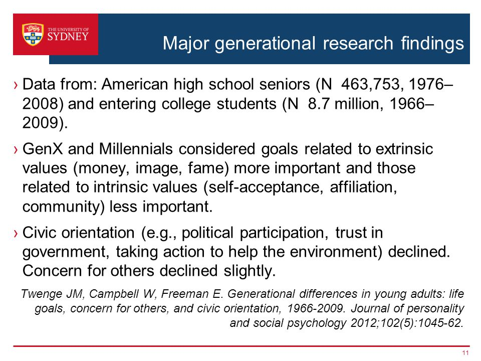 Major generational research findings Data from: American high school seniors (N 463,753, 1976– 2008) and entering college students (N 8.7 million, 1966– 2009).