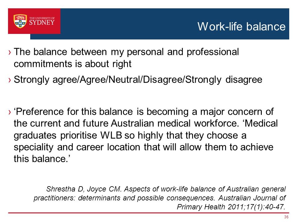 Work-life balance The balance between my personal and professional commitments is about right Strongly agree/Agree/Neutral/Disagree/Strongly disagree Preference for this balance is becoming a major concern of the current and future Australian medical workforce.