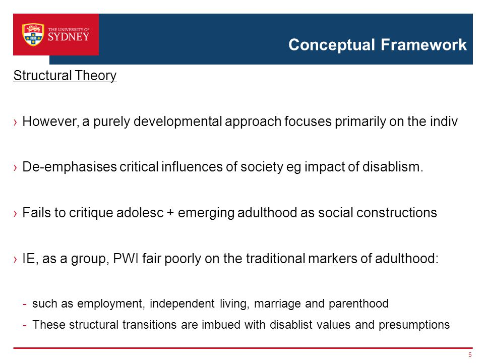 Conceptual Framework Structural Theory However, a purely developmental approach focuses primarily on the indiv De-emphasises critical influences of society eg impact of disablism.