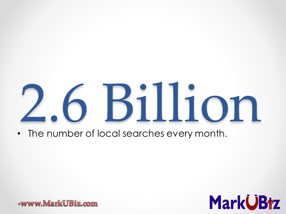 2.6 Billion The number of local searches every month.