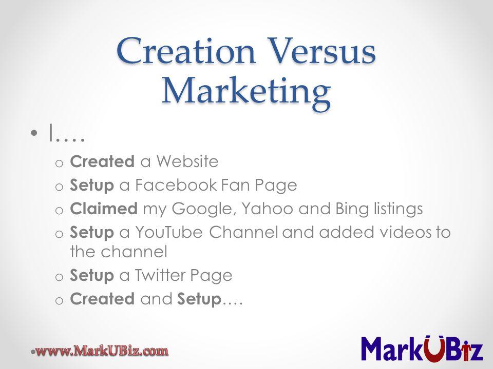Creation Versus Marketing I…. o Created a Website o Setup a Facebook Fan Page o Claimed my Google, Yahoo and Bing listings o Setup a YouTube Channel a