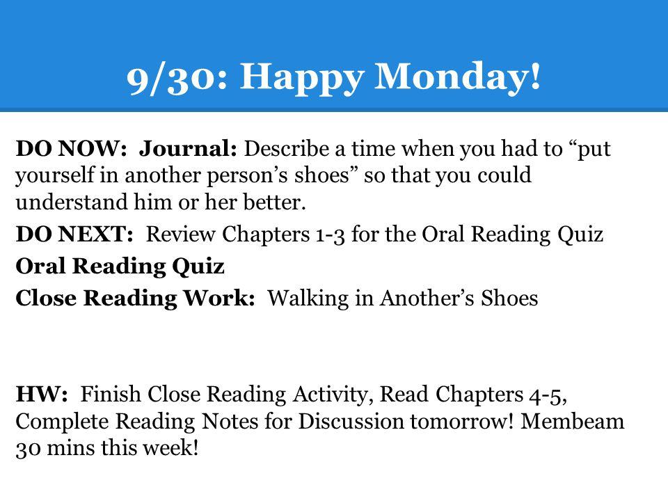9/30: Happy Monday.