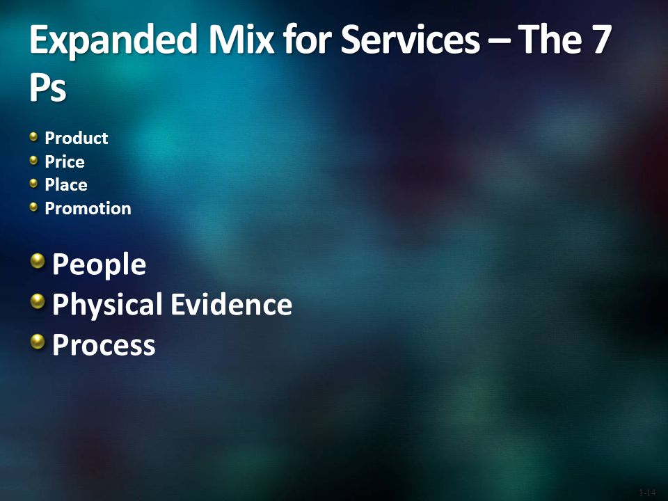 Expanded Mix for Services – The 7 Ps Product Price Place Promotion People Physical Evidence Process 1-14