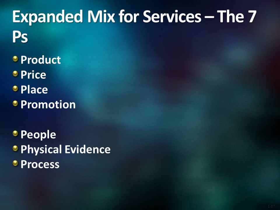 Expanded Mix for Services – The 7 Ps Product Price Place Promotion People Physical Evidence Process 1-17