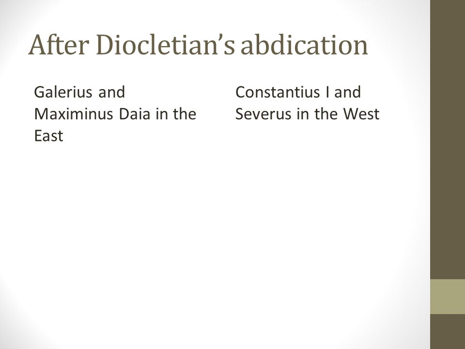 After Diocletians abdication Galerius and Maximinus Daia in the East Constantius I and Severus in the West