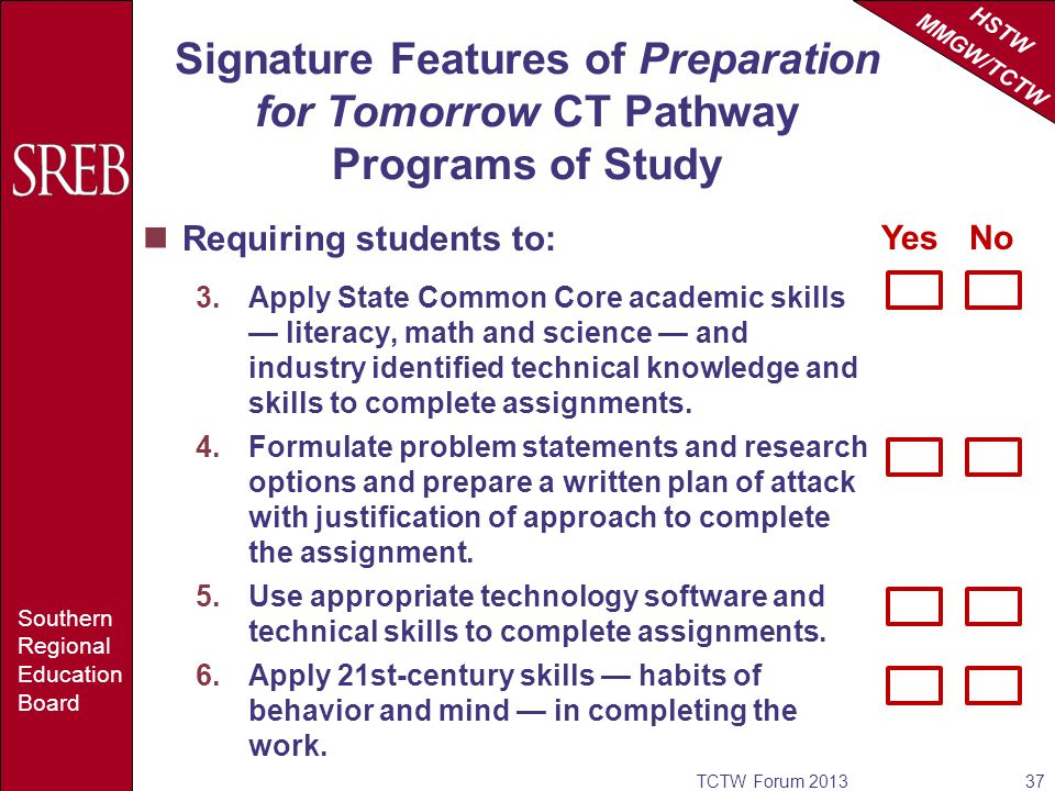 HSTW MMGW/TCTW Southern Regional Education Board Signature Features of Preparation for Tomorrow CT Pathway Programs of Study Requiring students to: 3.Apply State Common Core academic skills literacy, math and science and industry identified technical knowledge and skills to complete assignments.