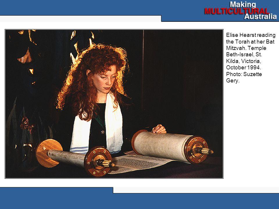Elise Hearst reading the Torah at her Bat Mitzvah.