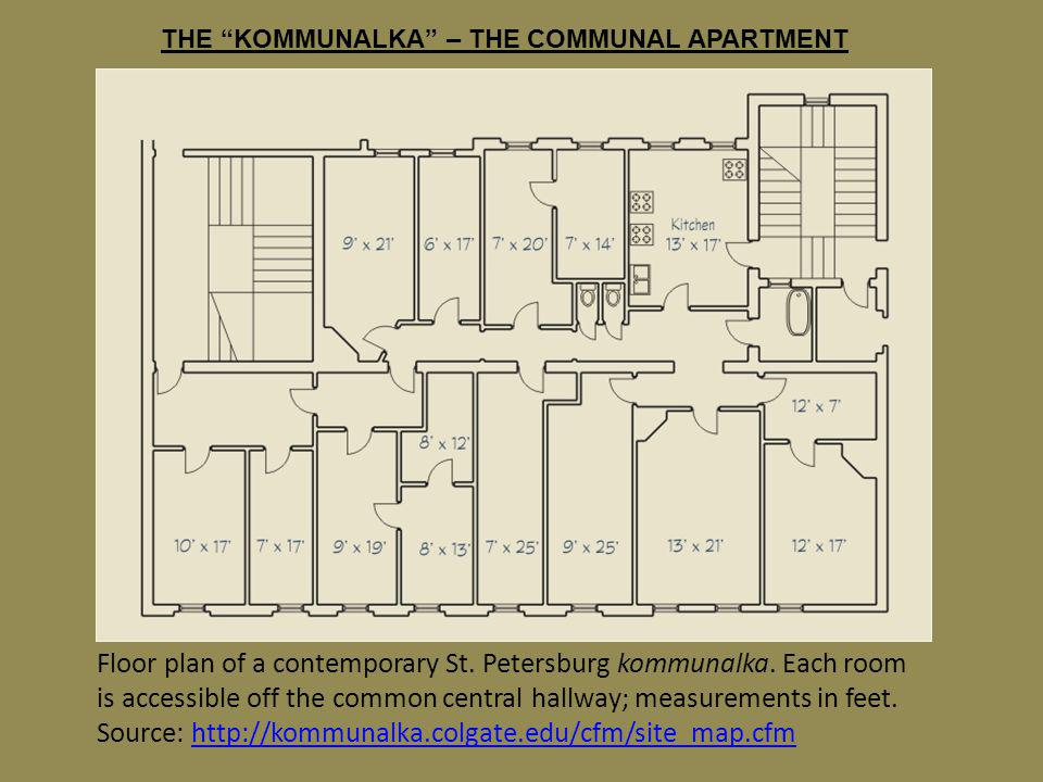 THE KOMMUNALKA – THE COMMUNAL APARTMENT Floor plan of a contemporary St. Petersburg kommunalka. Each room is accessible off the common central hallway
