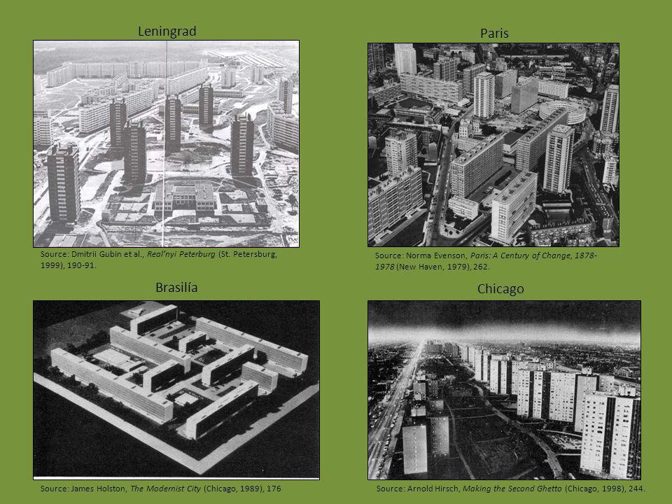 Paris Brasilía Chicago Leningrad Source: James Holston, The Modernist City (Chicago, 1989), 176 Source: Dmitrii Gubin et al., Realnyi Peterburg (St. P