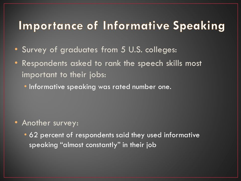 Survey of graduates from 5 U.S. colleges: Respondents asked to rank the speech skills most important to their jobs: Informative speaking was rated num