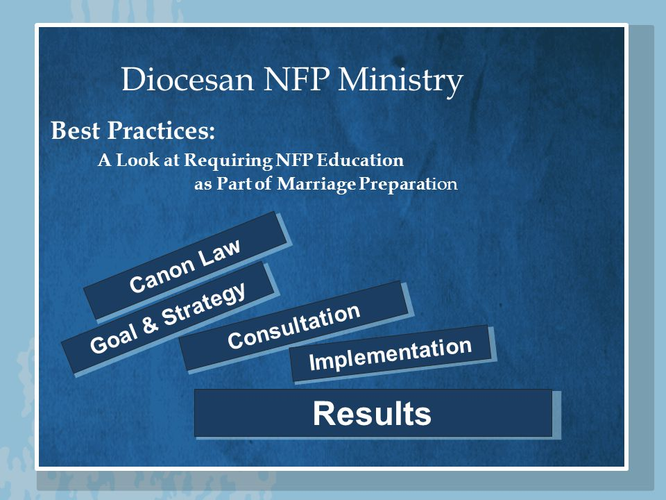Diocesan NFP Ministry Goal & Strategy Consultation Implementation Results Best Practices: A Look at Requiring NFP Education as Part of Marriage Preparat ion Canon Law