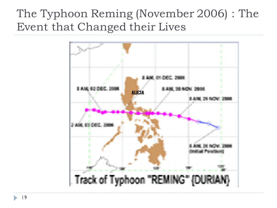 The Typhoon Reming (November 2006) : The Event that Changed their Lives 19