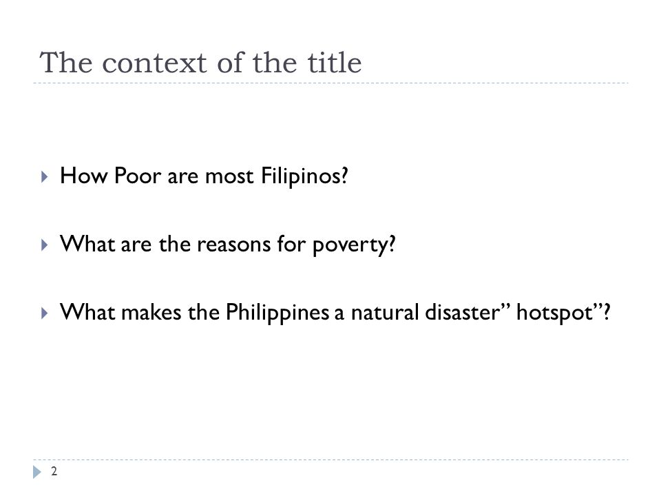 The context of the title How Poor are most Filipinos.