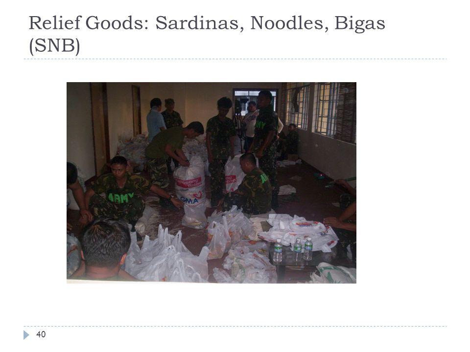 Relief Goods: Sardinas, Noodles, Bigas (SNB) 40
