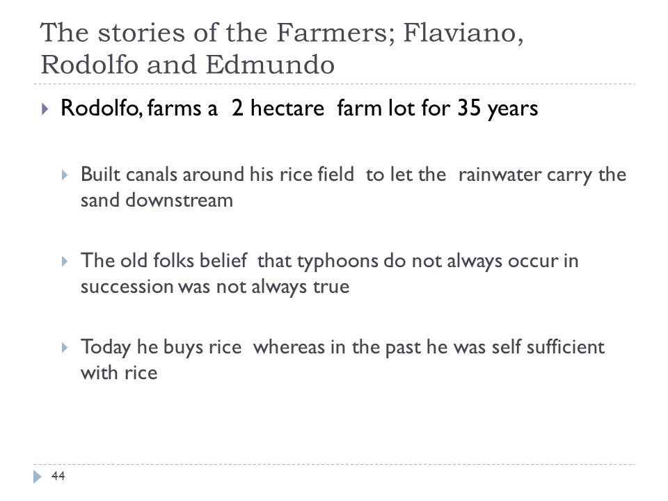 The stories of the Farmers; Flaviano, Rodolfo and Edmundo Rodolfo, farms a 2 hectare farm lot for 35 years Built canals around his rice field to let the rainwater carry the sand downstream The old folks belief that typhoons do not always occur in succession was not always true Today he buys rice whereas in the past he was self sufficient with rice 44
