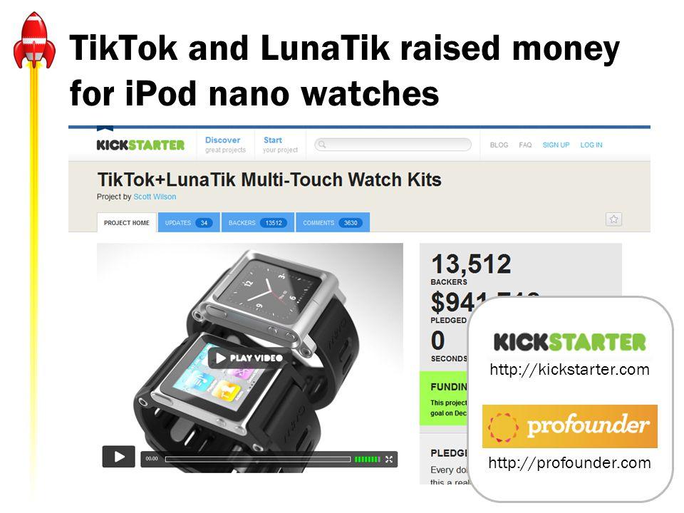 TikTok and LunaTik raised money for iPod nano watches http://kickstarter.com http://profounder.com