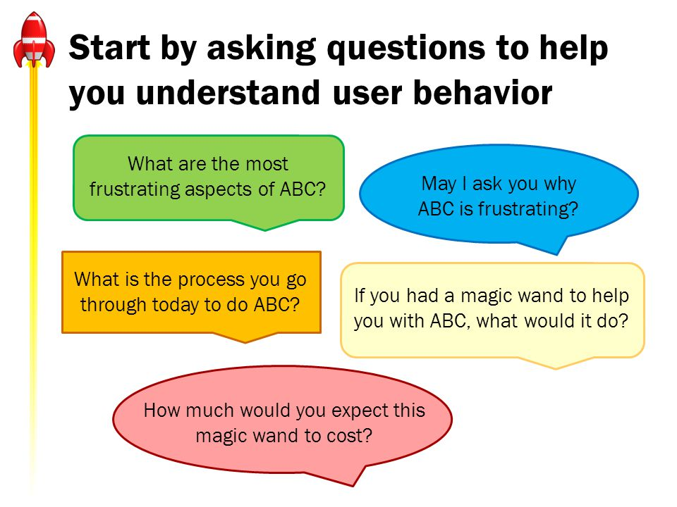 Start by asking questions to help you understand user behavior What are the most frustrating aspects of ABC.