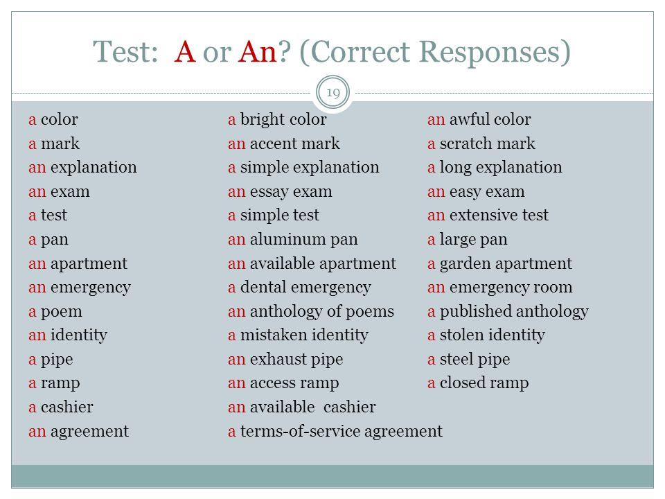 Test: A or An.