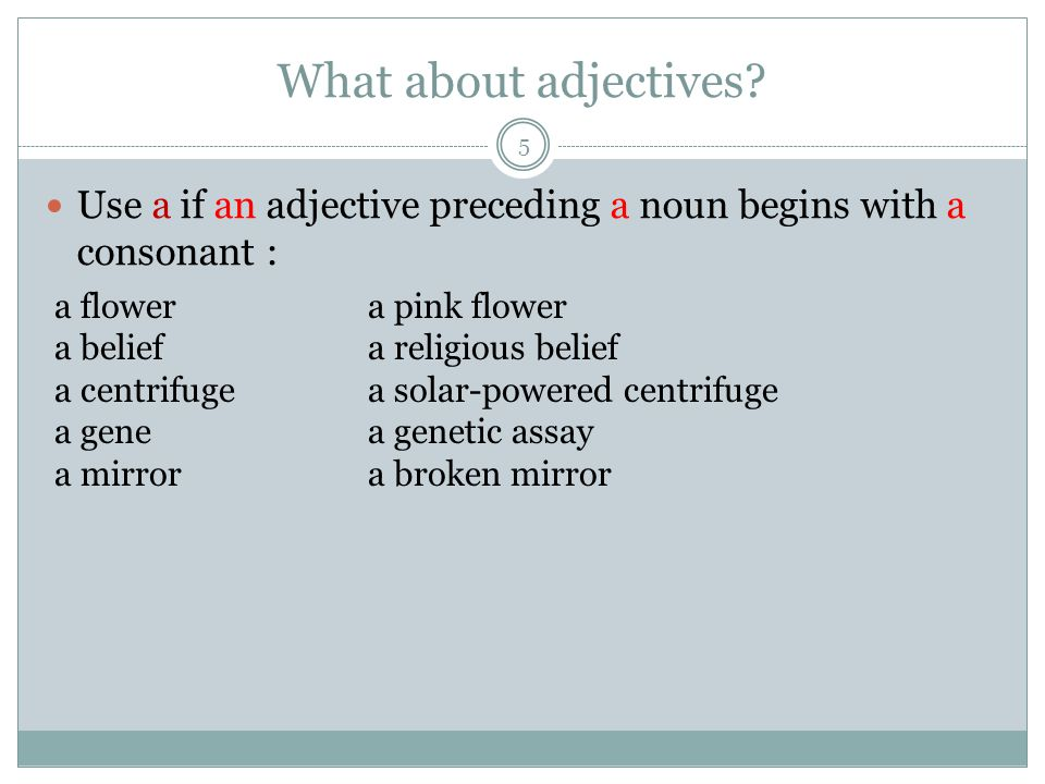 What about adjectives.